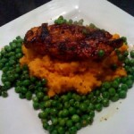 Reggae Reggae Chicken, Sweet Potato and ginger mash with spicy peas
