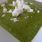 Minted Pea and Chilli Soup with Crumbled Feta