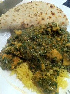 chilli chicken and mushroom saag recipe