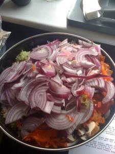 chopped veg for chilli goulash