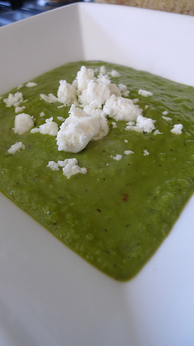 Minted pea soup with chilli recipe